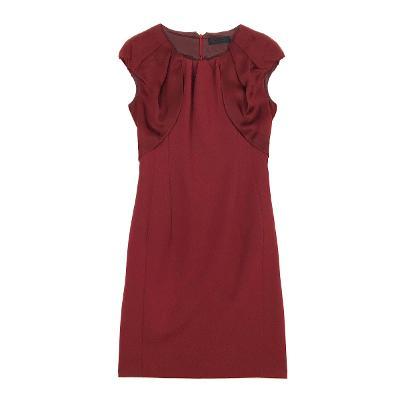 shirring shoulder dress red